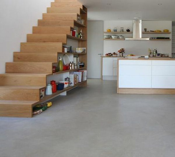 Clever under stair storage from the basement for Kitchen designs under stairs